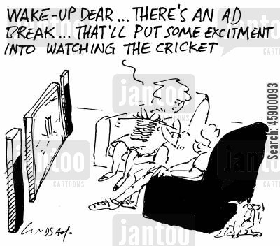 cricket match cartoon humor: 'Cheer up Dear. There's an ad break - that'll put some excitement into watching the cricket.'