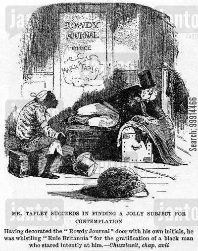 news cartoon humor: Mr. Tapley succeeds in finding a jolly subject for contemplation (Martin Chuzzlewit)