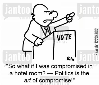 compromised cartoon humor: VOTE, 'So what if I was compromised in a hotel room? -- Politics is the art of compromise!'
