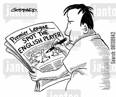 foreingers cartoon humor: Spot the English player.