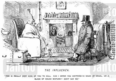 disease cartoon humor: Ill man offering his visitor gruel or cough mixture.