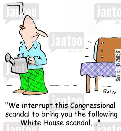 congressional scandal cartoon humor: 'We interrupt this Congressional scandal to bring you the following White House scandal....'