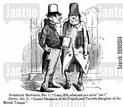sensationalism cartoon humor: Newsmen discuss the Massacre of the French and the Slaughter of British Troops -