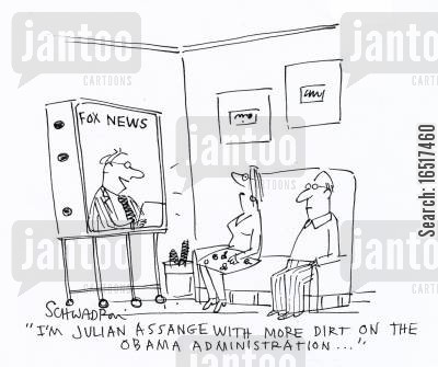 julian assange cartoon humor: 'I'm Julian Assange with more dirt on the Obama administration...'