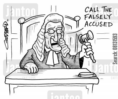 trial by press cartoon humor: 'Call the falsely accused.'