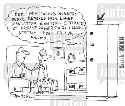normality cartoon humor: Here are today's numbers: debris removed from lower Manhattan...