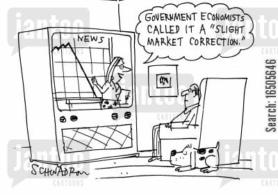 market crash cartoon humor: 'Government economists called it a 'slight market correction'.'