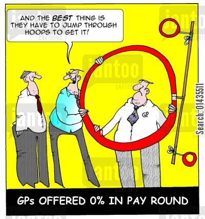 gp salaries cartoon humor: GPs offerred 0 in pay round