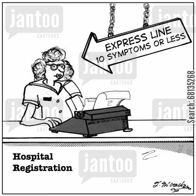 check outs cartoon humor: Express Line, 10 Symptoms or Less.