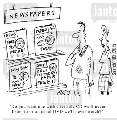 sunday paper cartoon humor: Newspaper offers