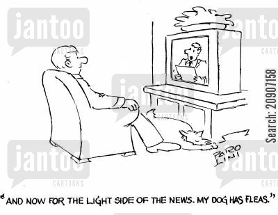 fleas infestation cartoon humor: 'And now for the light side of the news. My dog has fleas.'