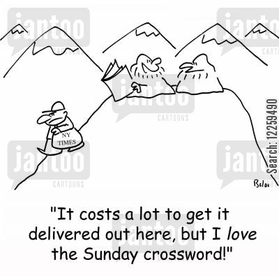 new york times cartoon humor: 'It costs a lot to get it delivered out here, but I LOVE the Sunday crossword!'