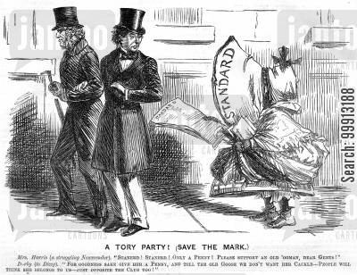 tory party cartoon humor: Disraeli and the Earl of Derby are troubled by a newspaper vendor