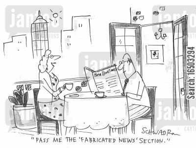 news supplements cartoon humor: 'Pass me the 'Fabricated News' section.'