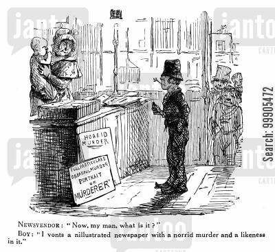 likenesses cartoon humor: Boy Requesting Illustrated Newspaper with a Murder in it