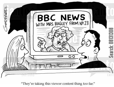 nosy neighbor cartoon humor: 'They're taking this viewer content thing too far.'