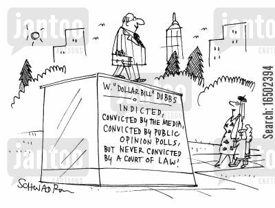 courts of law cartoon humor: Statue for W. 'Dollarbill' Dobbs.