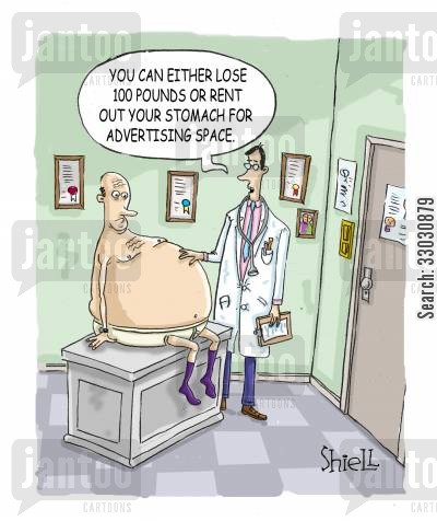 advertising space cartoon humor: 'You can either lose 100 pounds or rent out your stomach for advertising space'