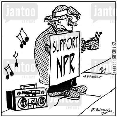 radio station cartoon humor:  'Support NPR.'