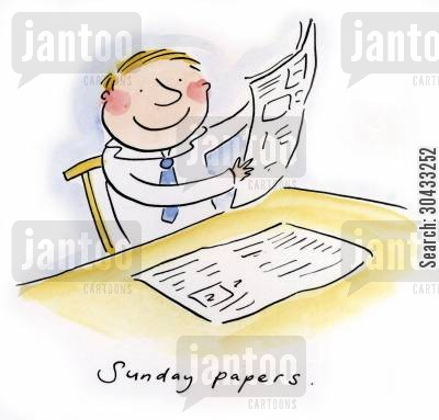 brunch cartoon humor: Sunday papers.