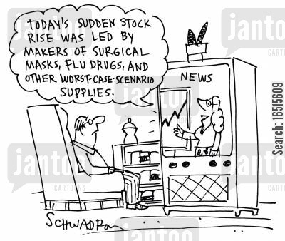 surgical masks cartoon humor: Today's sudden stock rise was led by makers of surgical masks, flu drugs and other worst case scenario supplies.