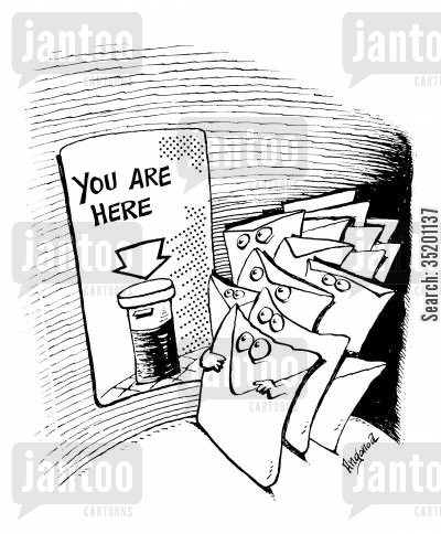 post box cartoon humor: Letters in post-box with sign 'you are here'.