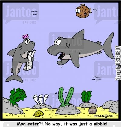 nibbling cartoon humor: 'Man eater?! No way, it was just a nibble!'