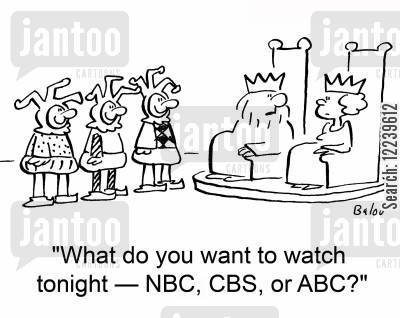 cbs cartoon humor: What do you want to watch tonight -- NBC, CBS, or ABC?