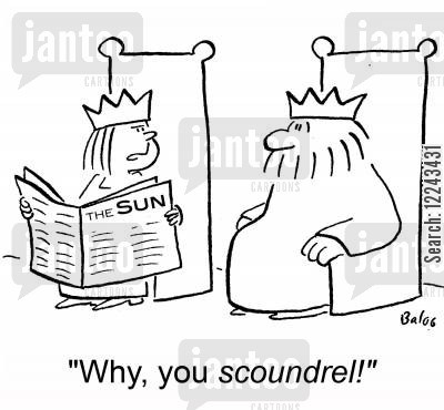 the cartoon humor: 'Why, you scoundrel!'