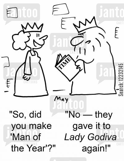 time magazine cartoon humor: 'So, did you make 'Man of the Year'?', 'No — they gave it to Lady Godiva again!'