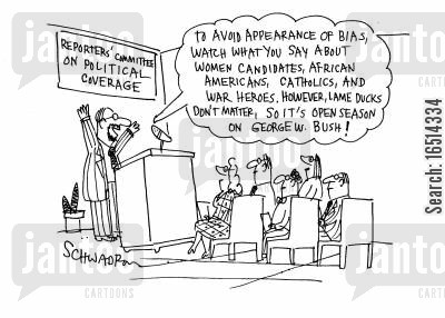 say cartoon humor: Reporter's Committee on political coverage - bias