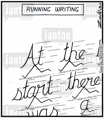 handwriting cartoon humor: Running Writing