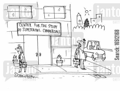 the states cartoon humor: 'Center for the study of superbowl commercials'