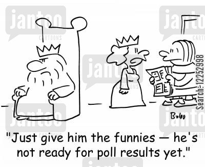 kcomics cartoon humor: 'Just give him the funnies -- he's not ready for poll results yet.'