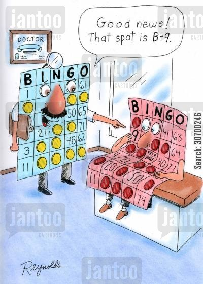 playing bingo cartoon humor: 'Good news! That spot is B-9!'