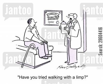 stick cartoon humor: 'Have you tried walking with a limp?'