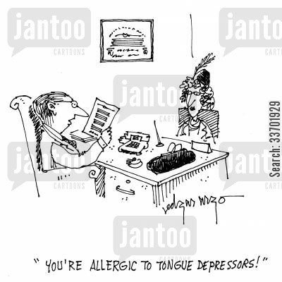 medical information cartoon humor: 'You're allergic to tongue depressors!'