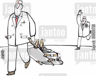stretcher cartoon humor: Paramedic running after dropped stretcher.