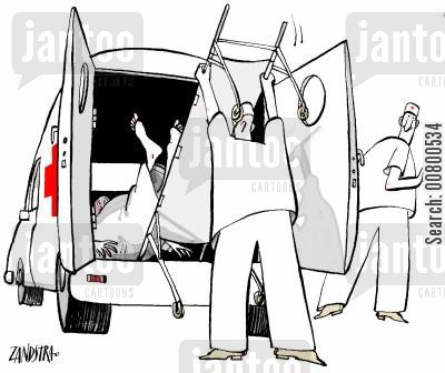 private health care cartoon humor: Paramedics.