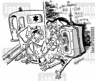 paramedics cartoon humor: Paramedics ignoring the victim and trying to open the safe
