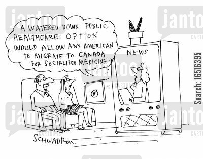 health costs cartoon humor: 'A watered down public healthcare option would allow any American to migrate to Canada for socialized medicine.'