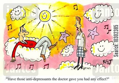 feeling down cartoon humor: 'Have those anti-depressants the doctor gave you had any effect?'