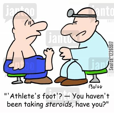 performance enhancing drugs cartoon humor: ''Athlete's foot'? -- You haven't been taking STEROIDS, have you?'