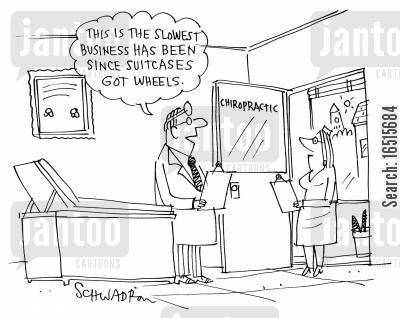 back injury cartoon humor: 'This is the slowest business has been since suitcases got wheels.'