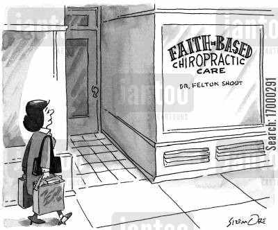 medecine cartoon humor: Faith-Based Chiropractic Care
