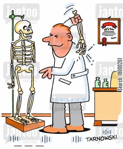 back scratcher cartoon humor: Doctor using a skeleton's arm to scratch his back.