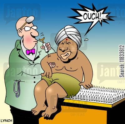 travel injections cartoon humor: Ouch!