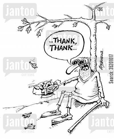 blind man cartoon humor: Blind man who thinks leaves are money.