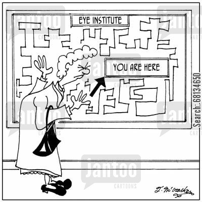 poor eyesight cartoon humor: You Are Here at the Eye Institute