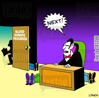 blood donation cartoon humor: Blood donors required.